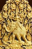 King riding elephant handcraft wall Royalty Free Stock Photo