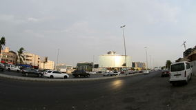 King road in the heart of the city of Jeddah at afternoon stock video footage