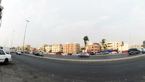 King road from the middle in Jeddah city at afternoon stock video