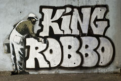 King Robbo. Camden famous spot in London where the 2 artists King Robbo and Banksy are showing off their differences Royalty Free Stock Photo