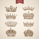 King royal crown icon set engraving lineart retro vintage vector Stock Images