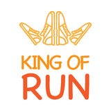 King of Run Motto with Logo Crown from Sneakers Royalty Free Stock Photo