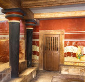 King's chamber of Knossos. King's chamber of legendary Knossos palace, Crete, Greece Stock Photo