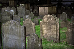 King's Chapel Burial Grounds, Boston, MA. King's Chapel Burying Ground is a historic cemetery at King's Chapel on Tremont Street in Boston, Massachusetts Royalty Free Stock Photos