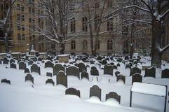 King`s Chapel Burying Ground in Boston, USA on December 11, 2016. BOSTON, USA - DECEMBER 11: King`s Chapel Burying Ground in Boston, USA on December 11, 2016 Stock Image