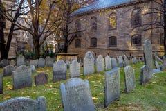 King`s Chapel Burying Ground cemetery - Boston, Massachusetts, USA. King`s Chapel Burying Ground cemetery in Boston, Massachusetts, USA royalty free stock image