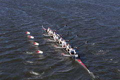 King`s Chester Crew races in the Head of Charles Regatta Men`s Youth Eights Royalty Free Stock Photos
