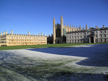 King's and Clare Colleges, Cambridge Univer. King\'s College and Clare College, Cambridge University in winter with a clear blue sky Royalty Free Stock Photo