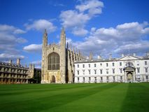 King's College, Cambridge, UK. Founded in 1441, the King's College is the most important college in Cambridge and its famous Chapel is the symbol of the city Royalty Free Stock Photos