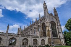 King`s College Chapel, Cambridge, England - Late Gothic edifice with a vast fan vaulted ceiling, ornate stained glass windows and. CofE services Stock Photo