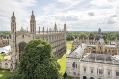 King`s College Chapel, Cambridge. High level view of the Chapel of King`s College, Cambridge from the tower of Great St Mary`s Church Royalty Free Stock Images