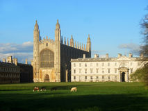 King's College Chapel, Cambridge, UK. View at the King's Colege Chapel, Cambridge, from the Backs, across River Cam Stock Photos
