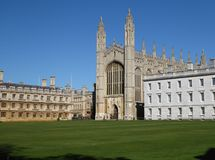 King`s College Chapel, Cambridge, UK, seen from the Backs. King`s College Chapel is famous for the annual Christmas Festival of Nine Lessons and Carols. Next to stock image