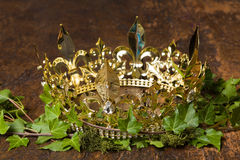 King's cross on ivy. Royal display of a medieval golden crown on wood, ivy and moss royalty free stock photos