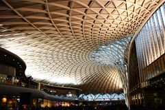 King`s Cross Train Station, London. View of the geometric ceiling at King`s Cross train station in London stock photos