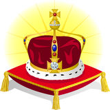 King's Crown on Pillow/eps. Illustration of a royal crown fit for a king or prince, on a red pillow Stock Photo