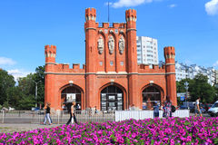 King's Gates in Kaliningrad in the summer in August. KALININGRAD, RUSSIA — AUGUST 13, 2014: King's Gates in Kaliningrad in the summer in August Stock Images