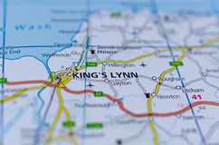 King`s Lynn on map. Close up shot of King`s Lynn on map, known until 1537 as Bishop`s Lynn, is a seaport and market town in Norfolk, England Royalty Free Stock Image