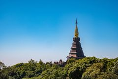 King`s pagoda on mountain of Thailand stock image