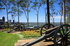 King's Park,Perth,Western Australia. Twin Cannons.View from King's Park, Perth cityscape as background.Western Australia stock photos