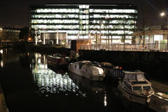 King`s Place and Regent`s Canal, London at night. Stock Photo