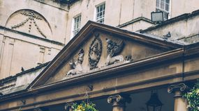 Roman Baths City. King`s and Queen`s baths the Pump Room entrance, Bath Royalty Free Stock Images