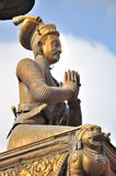 King S Statue Pillar At Bhaktapur Durbar Square Stock Photo