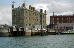 King's Steps, Portsmouth Naval Base. PORTSMOUTH, ENGLAND - AUGUST 2: View from the sea of King's Steps dock at Portsmouth Naval Base on August 2 2013.  It was Stock Photo