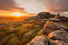 King's Tor. Sunset from King's Tor Dartmoor national park Devon Uk Royalty Free Stock Photos