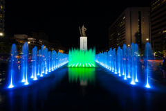 King Sae Jong Dae Statue Night Fountain Centered Royalty Free Stock Photography