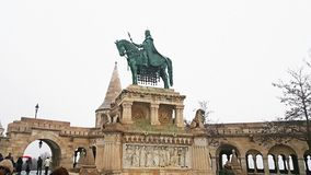 King saint stephen monument in budapest. Castle stock photography