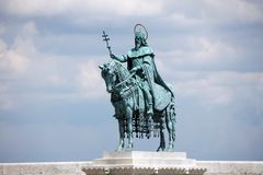 King Saint Stephen`s modern sculpture in Budapest Royalty Free Stock Photography