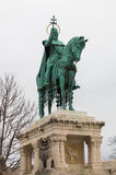 King Saint Stephen statue in Budapest Hungary. King Saint Stephen statue located near the Matthias Church and Fisherman`s bastion in Buda castle on a cloudy day royalty free stock image