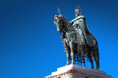 King Saint Stephen statue in Budapest, Hungary. King Saint Stephen statue at Matthias Church, Budapest, Hungary royalty free stock photo