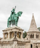 King Saint Stephen statue at Matthias Church. Budapest, Hungary royalty free stock photography