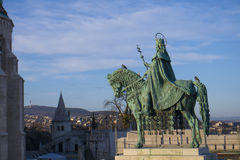 King Saint Stephen. Statue of King Saint Stephen who converted the tribes to Christianity around the 10th century in the middle of the Fisherman`s Bastion in stock photo