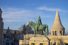 King Saint Stephen. Statue of King Saint Stephen who converted the tribes to Christianity around the 10th century in the middle of the Fisherman`s Bastion in royalty free stock photography
