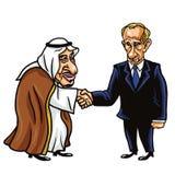 King Salman and Vladimir Putin. Vector Cartoon Illustration. October 18, 2017. King Salman and Vladimir Putin. Vector Cartoon Illustration Drawing. October 18 Royalty Free Stock Photos