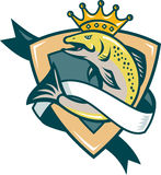 King Salmon Fish Jumping Shield. Illustration of a king salmon fish with crown jumping with shield and scroll in background done in retro style Royalty Free Stock Photo