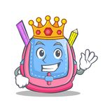 King school bag character cartoon. Vector illustration Stock Image