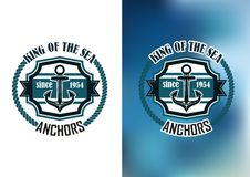 King of the sea anchors emblem Stock Photo
