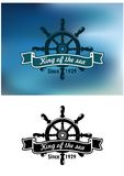 King Of The Sea marine emblem or badge Stock Photos
