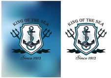 King Of The Sea nautical themed badge Royalty Free Stock Image