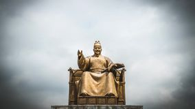 King Sejong Monument against Cloudy Sky at Gwanghwamun Square in Seoul, South Korea