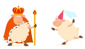 King of sheep in a crown with a princess Royalty Free Stock Image