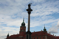 King Sigismund Column and the Royal Castle in Warsaw, Poland. Royalty Free Stock Images