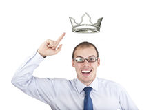 King size. Business man king  with  crown Stock Image