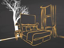 King Size Appartment Sketch on Chalkboard. Handdrawn vector sketch, clean outlines, vintage style blackboard Royalty Free Stock Photography