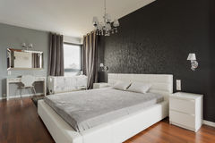 King size bed with headboard royalty free stock photos