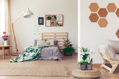Bedroom with plants and cork royalty free stock photos